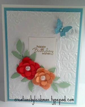 Beautiful birthday card creations by leishman this card was really easy to put together i used the floral fusion sizzlit to make the flowers and the little leaves sizzlit to make the leaves m4hsunfo